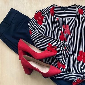 Madewell black striped wrap top w/ red flowers